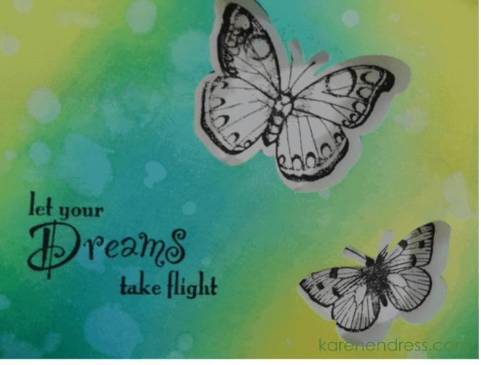 Handmade encouragement card dreams take flight close up