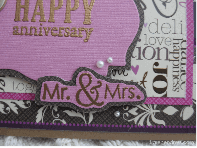 Handmade anniversary card special mr & mrs detail right