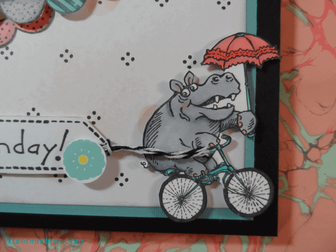 handmade birthday card hippo cycle