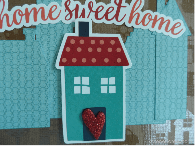 Hand made congratulations card home sweet home detail