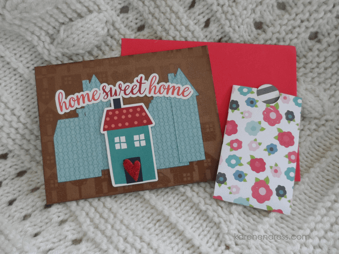 hand made congratulations card home sweet home with gift card holder