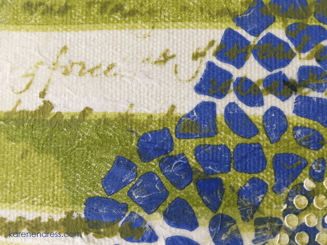 hand made mixed media canvas scatter joy blue pattern