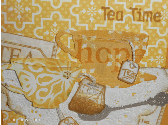 hand made coffee & tea card tea time right close up