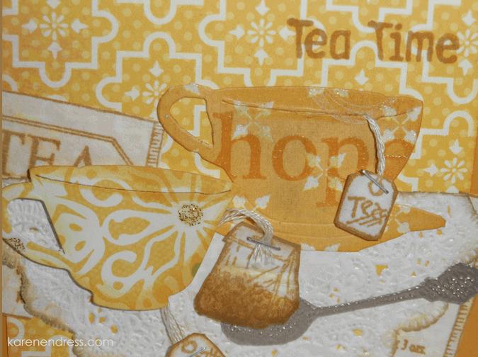 hand made coffee & tea card tea time right close up